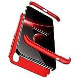 hyujia Compatible Xiaomi Redmi Note 7 Funda(2018) Carcasa 360° Ultra Fina Protectora cojín+Vidrio Templado Pantalla Protector,3 in 1 PC Hard Caja Caso Skin Case Cover Carcasa parai Redmi Note 7 Rojo