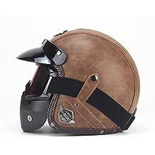 LI DANNA Casco De Cuero De La PU Cascos De Moto Motocicletas Vintage Casco De Harley