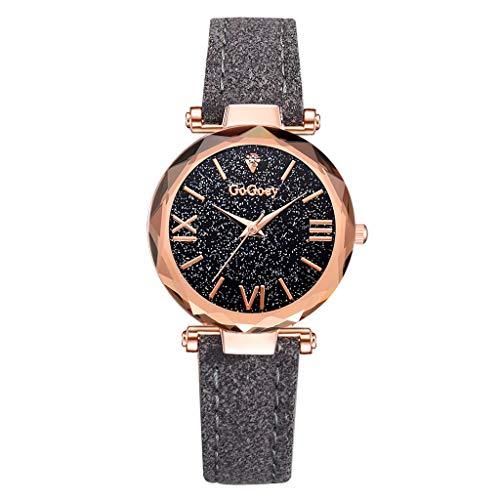 COOKDATE Armbanduhr Damen Mode Frauen Leder Casual Watch Analog Quarzkristall Armband Uhr Uhren Mode Einfach römisch Ziffer Rahmen Sternenhimmel Wählen Wählen Quarz Weiblich Silber
