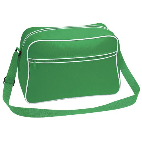 Bagbase - Borsa a tracolla stile retrò - 18 Litri Verde/Bianco