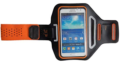 Pulsera Deportiva Fitness Cover para Huawei Y6 II Compact, Brazo del teléfono móvil Funda Ligera, Manga Plana Jogging Unisex, Dealbude24 Trendy L Naranja
