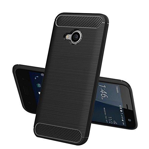 TOPACE Hülle für HTC U11 Life, Flexiblem TPU Silikon Hybrid Schutzhülle Kohlenstoff-Fasern Tasche Slim-Fit Case für HTC U11 Life (Schwarz)