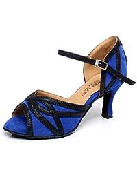 JSHOE Frauen Criss Cross Strap Metall Schnalle Tanzschuhe Salsa/Tango//Samba/Modern/Jazz Schuhe Sandalen High Heels,Gold-heeled8cm-UK6/EU39/Our40