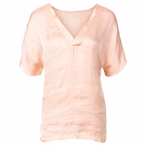 QIYUN.Z Estate Donne V Collo Manica Corta Di Colore Solido Camicie Ragazza Camicetta Di Modo Allentato Rosa