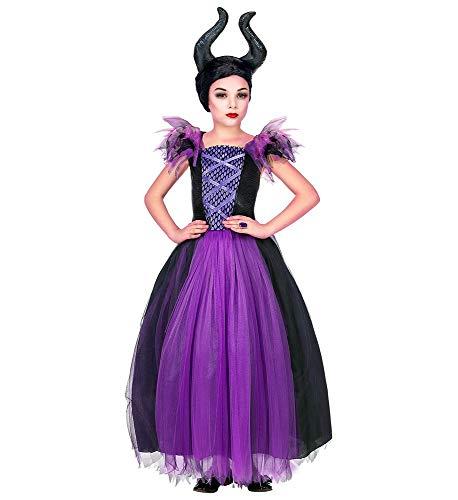 shoperama Mädchen Kostüm Maleficent Kleid und Kopfschmuck Kinder Böse Dunkle Fee Stiefmutter Königin, Größe:158 - 11 bis 13 - Make-up Halloween Schneewittchen Für