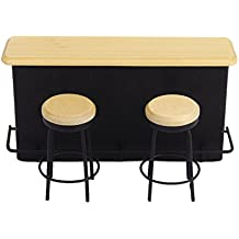 TOOGOO(R) Mesa de Muebles y 2 sillas en miniatura para 1/12