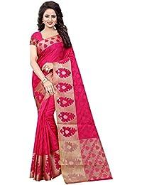 Wedding Villa Women's Poly Cotton Saree With Blouse Piece (Dulhan_Gajari_Gajari_Colour)