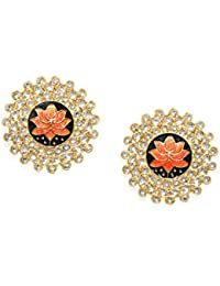 Zaveri Pearls Ethnic Stud Earrings for Women (Golden) (B07HL33JVS)