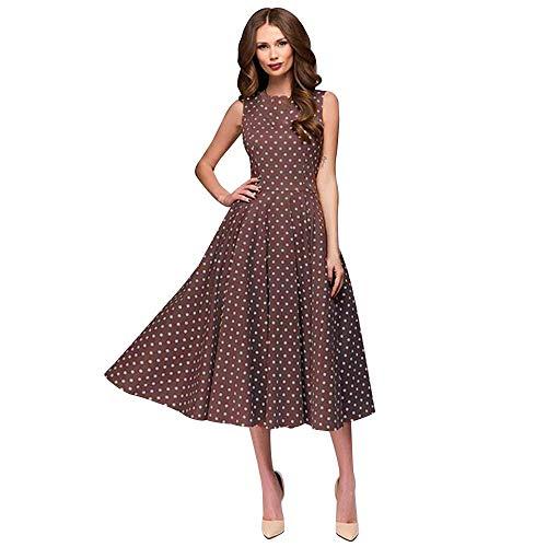 HupoopWomens Dot Ärmellos Hebburn Vintage Zip Cute Floral Knielanges Kleid ()
