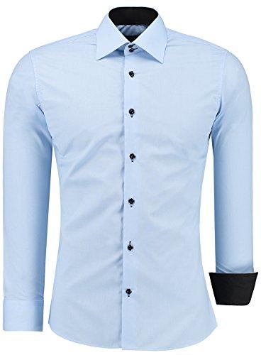 Jeel uomo camicia casual maniche lunghe contrasto slim fit tg s m l xl xxl, azzurro m