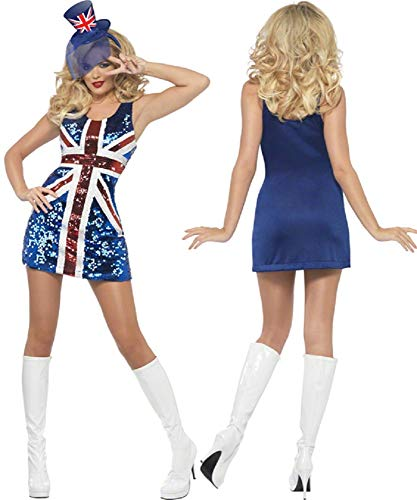 Fancy Me Damen Sexy Pailletten Union Jack Ingwer Spice Girls Rule Britannia Kostüm Kleid Outfit UK 8-18 - Blau, 8-10, (Fat Girl Kostüm)