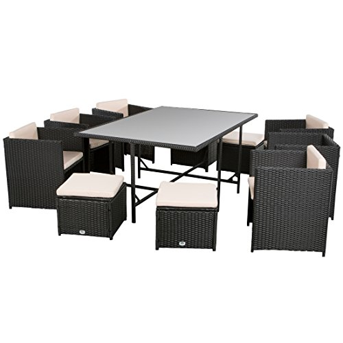 Ultranatura Poly-Rattan Lounge-Set, Palma-Serie 11-teilig (1 Tisch + 6 Sessel + 4 Hocker inklusive...