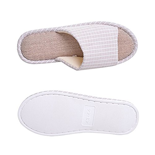 William & Kate Pantoufles Pour Femmes Et Hommes Pantoufles En Coton À Mémoire Pantoufles En Lin Anti-dérapantes Chaussures Ouvertes Avec Chaussures Compensées Latex Beige Confortable Et Lavable