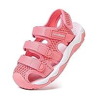 BMCiTYBM gb Toddler Girls Sport Sandals Kid Boys Closed Toe Velcro Water Shoes Pink Size: 13.5 Little Kid