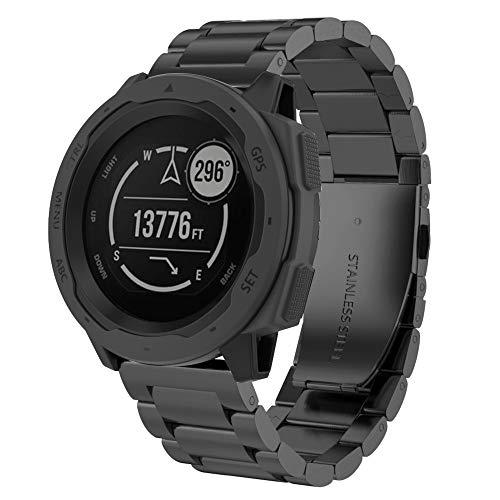 Webla Jiaming Sanzhu Edelstahl Armband Armbanduhr Ersatz Armband Für Garmin Instinct (Schwarz)