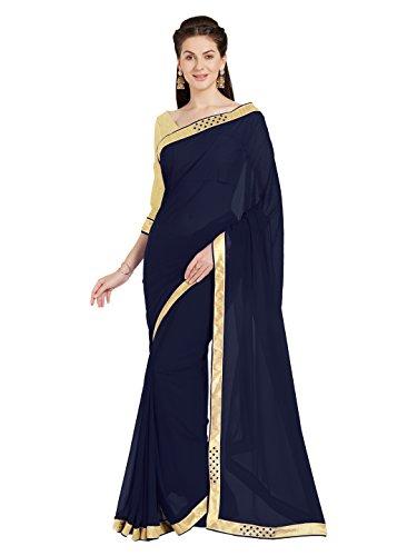 Blaue Saree (Indische Kleider Damen Sari mit Ungesteckt ungesehen Oberteil/bluse Mirchi Fashion Party indians saree kleidung)
