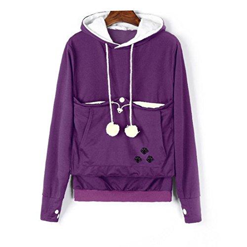 Dihope Femme Homme Automne Sweat à Capuche Top Manches Longues Sweater Casual Hoodie Sweatshirt avec Poche Violet