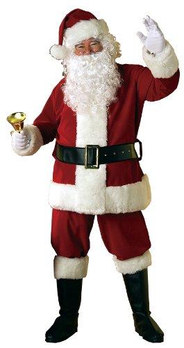 Weihnachtsmann Santa Claus Deluxe Samt Kostüm Set, 7-teilig: Jacke, Hose, Bart, Perücke, Mütze, Galoschen, Gürtel (Weihnachtsmann Kostüm)