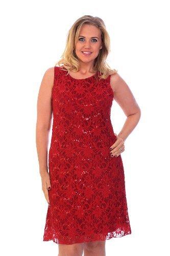 Rot Flapper Plus Kleid Größe (Flapper Spitzenkleid Rot)