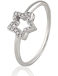 Silvernshine 0.08 Cts Round Cut Sim Diamond Star Shape Engagement Ring In 14KT White Gold PL