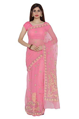 ADA Handmade Lucknow Chikankari Casual Wear Faux Georgette Saree A204981