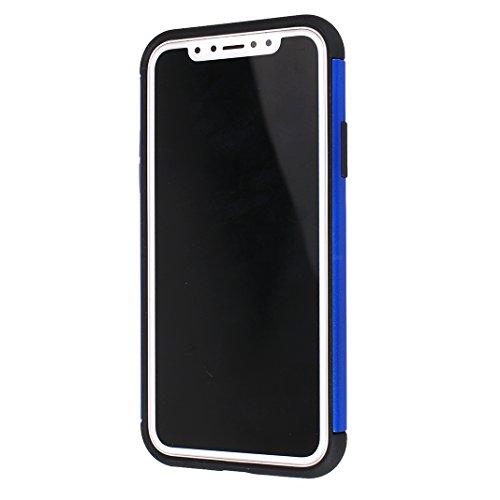 Armatura Cover per iPhone X, Asnlove 2 in 1 Caso Antiurto Protettiva TPU Silicone Custodia con Staffa Anello Cassa può Essere Assorbito dal Magnete Case Supporto Girevole, Rosso Blu