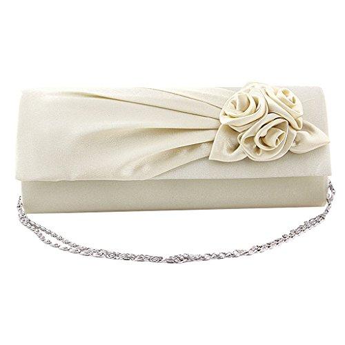 Frauen Clutches Handtasche Schulter Kupplung Tasche Satin Rose Abend  Partei (Creme) -