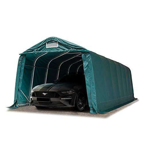 TOOLPORT Garagenzelt Carport 3,3 x 4,8 m in dunkelgrün Weidezelt Unterstand Lagerzelt mit 550 g/m² PVC Plane und Stabiler Stahlrohrkonstruktion
