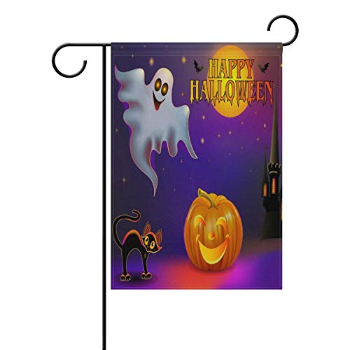 ASKYE Halloween with Ghost Black Cat Pumpkin and Castle Double Sided Polyester Garden Flag, Halloween Winter Holiday Decorative Flag for Party Yard Home Decor(Size: 28inch W X 40inch H) -