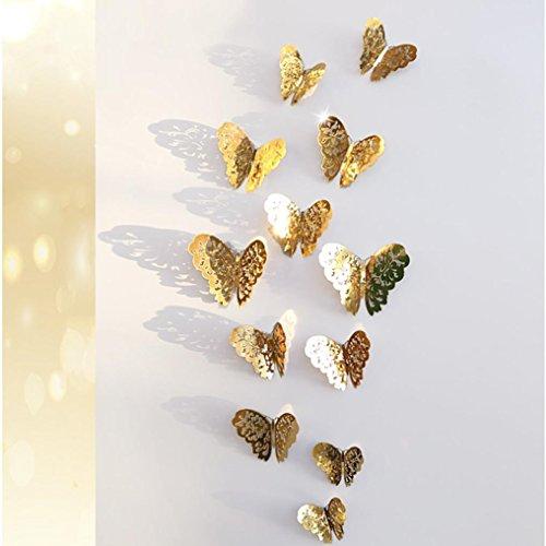 Dragon868 12 pezzi 3d cavo parete adesivi farfalla frigorifero per la decorazione domestica nuovo (a)
