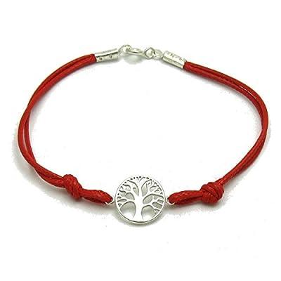 Bracelet en argent massif 925 Arbre de la vie avec rouge corde