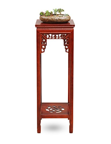 XIAOLIN- Racks de fleurs en bois massif Plateaux de fleurs de couleur de teck Style chinois de meubles de salon rétro Cadre de bonsaï -Cadre de finition de fleurs