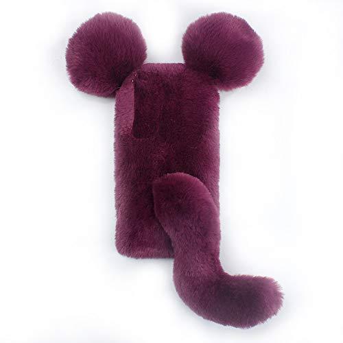Miagon Maus Schwanz Handyhülle für Huawei Mate 20 Lite,Super Weich Winter Warm Lustig Kunstpelz Plüsch Fluffy Flexibel Handytasche Schale Case,Wein Rot