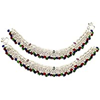 Fashion World Silver Payal Kashmiri Full Crystal Anklet for Girls and Women