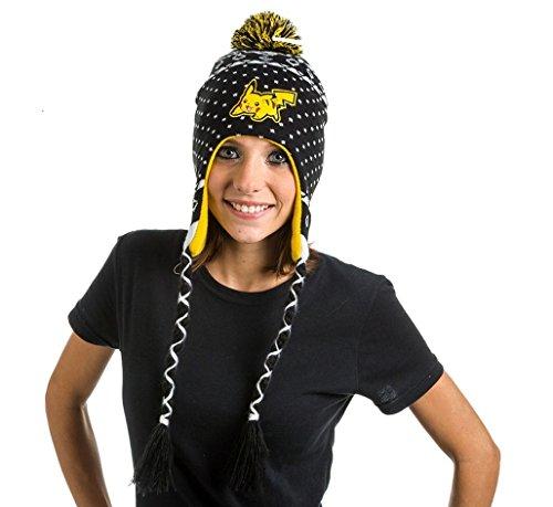 Pokemon Unisex Pikachu Lappländer Beanie Hat, Schwarz, One size (Pop Culture Kostüme)