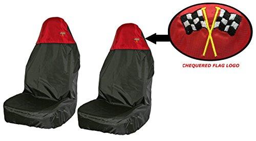 XtremeAuto WLW2-Xahdvanseatcovers proteggi sedile per schienale alto, resistente all' acqua, anteriore, nero rosso