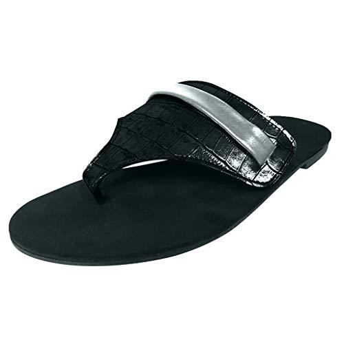 WINLISTING Frauen Sommer Sandalen Plattform Komfortable Open Toe Hausschuhe Freizeitschuhe (39, Schwarz) Patent Open Toe Plattform