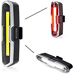 Luces de bicicleta 2en 1 de c4wrd, nuestras luces y faros para ciclismo son fabricados para un ciclista feliz sin dinero con necesidades de instalación rápida, USB Batería LED luces de ciclo, rojo blanco haz con visión más rápida