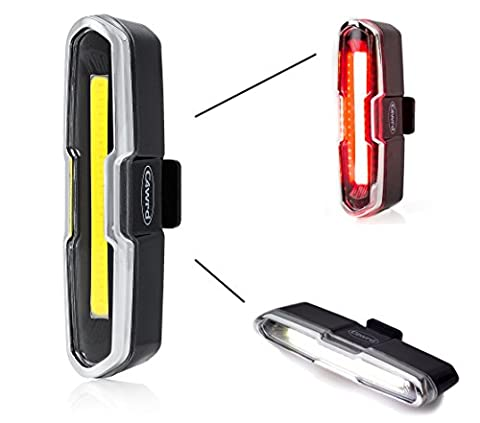 C4wrd LED USB Fahrradlicht, Rücklicht und Frontlicht, Extrem helle Fahrradlampe rot weiß, wiederaufladbar, einfach zu montieren, spritzwassergeschütztes Gehäuse mit Akku für gesicherten Radfahrspaß