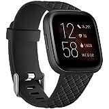 Wepro voor Fitbit Versa Bandje, Premium Siliconen Geweven Patroon Sport Vervangende Riem voor Fitbit Versa/Versa 2 / Versa Lite/Versa Special Edition, 10 Kleuren, L Rozenkwarts