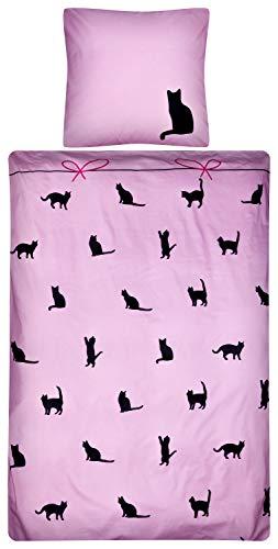 Aminata Kids - Kinder-Bettwäsche-Set 135-x-200 cm Katze-n-Motiv Haus-Tiere | 100-{1bc8405f4cdb4036d49b8679a039381d098eac04f9946cb733477468336e9419} Baumwolle Renforce | Reißverschluss | schwarz pink rosa | Teenager Jugendlich-e