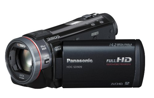 Panasonic HDC-SD909EGK Full HD Camcorder (SD-Kartenslot, 12-fach opt. Zoom, 8,8 cm (3,5 Zoll) Display, Bildstabilisator, 3D kompatibel) schwarz