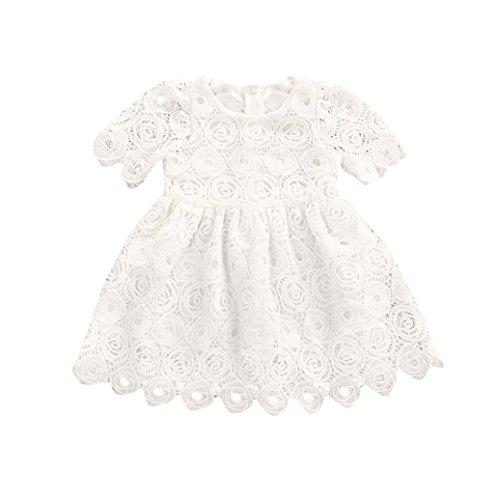 Uomogo abito pizzo tulle bambina principessa senza manica ragazza vestito abiti da partito sera matrimonio cerimonia 6-24 mesi (età: 0~6 mesi, bianca)