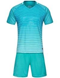 Huicai Hombres y Mujeres Manga Corta Ropa de Fútbol Rayas Camisas y  Pantalones Cortos Entrenamiento Combinar e9f844703dd2a