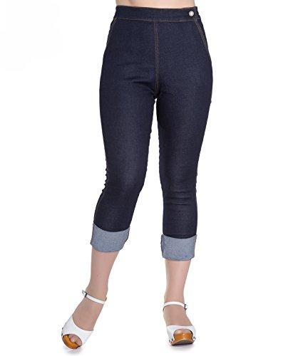 Hell Bunny 50s Ronnie Blu Denim Rockabilly Capris Jeans Blue 54-56 (XXXXL)