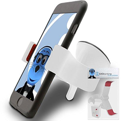 Weiß Klaue Multidirektional Armaturenbrett / Windschutzscheibe Kompatibel (Verwendung mit oder ohne vorhandenem Gehäuse!) Clip On Saughalterung im KFZ Halter für HTC P3600i