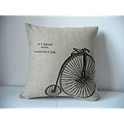 Cotton Linen Square Decorative Throw Pillow CaseCushion Cover Vintage Bicycle Bike 18 X18 by Decor Trader