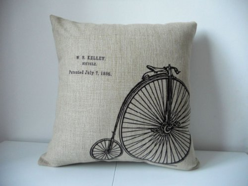 Cotton Linen Square Decorative Throw Pillow Case Cushion Cover Vintage Bicycle Bike 18 X18 by Decor Trader