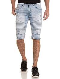 Gov Denim - Bermuda bleu clair en jean délavé nervuré