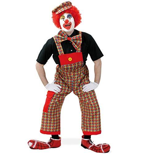 Kostüm Witzbold - KarnevalsTeufel Clown Set - Latzhose, Schleife und Mütze Clown Kostüm Harlekin Zirkus Witzbold Kostüm für Erwachsene (M)